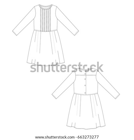 technical drawing dress vector