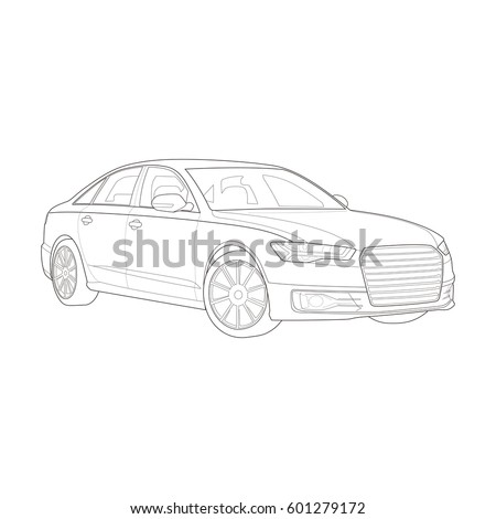Technical drawing of high-end car. Vector illustration. Black and White