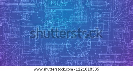 Technical drawing on a gradient background.Mechanical Engineering drawing Stockfoto ©