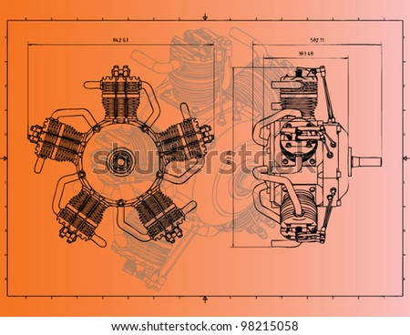 technical drawing radial cylinder engine - stock vector