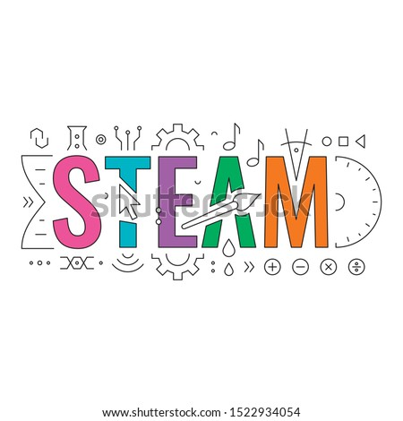 technical drawing steam concept. steam word and steam symbols. science, technology, engineering, art, mathematic. steam word
