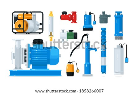 Technical equipment and supply for water pump system set. Electric powered motor or engine, industrial pumping compressor, sewage station appliance vector illustration isolated on white background