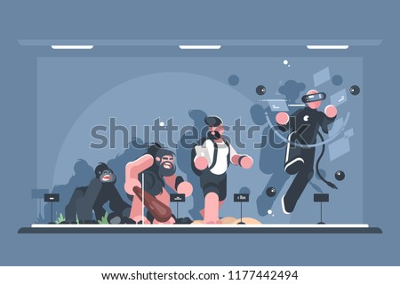 Technical evolution of man. Monkey and homo sapiens, person with smartphone, and in virtual reality. Vector illustration