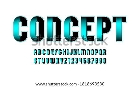 Technical font, digital alphabet, letters (A, B, C, D, E, F, G, H, I, J, K, L, M, N, O, P, Q, R, S, T, U, V, W, X, Y, Z) and numbers (0, 1, 2, 3, 4, 5, 6, 7, 8, 9), vector illustration 10EPS Stok fotoğraf ©