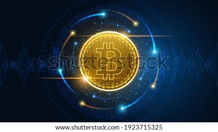 Technical graph of Bitcoin in futuristic concept