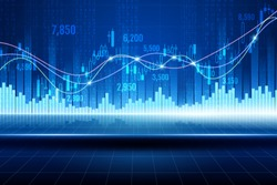 Technical graph of stock market, digital trading and data analysis technology concept, vector art and illustration.