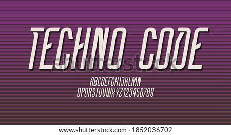 Technical high font, condensed alphabet, italic letters (A, B, C, D, E, F, G, H, I, J, K, L, M, N, O, P, Q, R, S, T, U, V, W, X, Y, Z) and numerals (0, 1, 2, 3, 4, 5, 6, 7, 8, 9), vector illustration  Stock fotó ©
