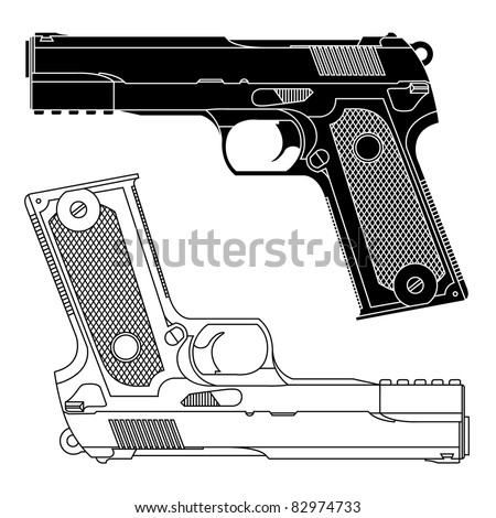 Guns Technical Drawing Technical Line Drawing of a