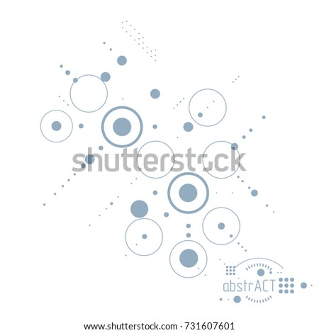Technical plan, abstract engineering draft for use in graphic and web design. Vector drawing of industrial system created with lines and circles.