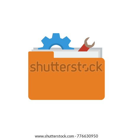 Technical project icon flat symbol. Isolated vector illustration of toolkit sign concept for your web site mobile app logo UI design.
