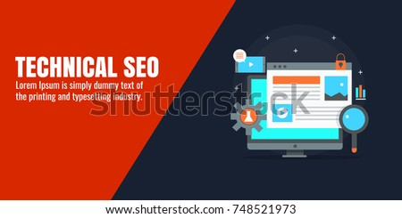 Technical SEO marketing, Search optimization, Digital content marketing flat vector banner illustration with icons and texts