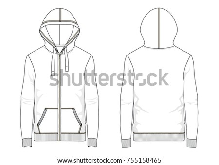 Technical sketch of man hooded sweatshirt in vector graphic