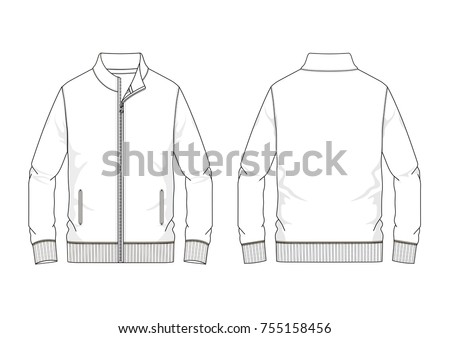 Technical sketch of man sweatshirt in vector graphic