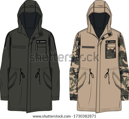 technical sketch of men's parka with hood Сток-фото ©
