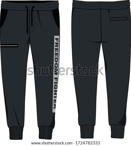 technical sketch of mens jersey joggers with slogan Photo stock ©