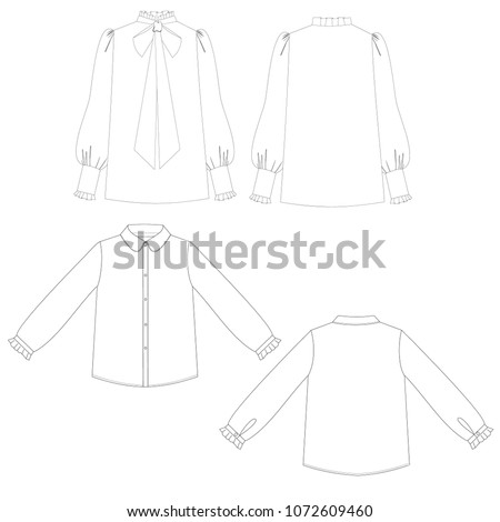 technical sketch set of blouses vector illustration