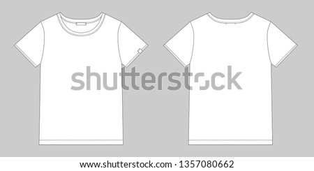 Technical sketch unisex t shirt. T-shirt design template. Front and back vector.