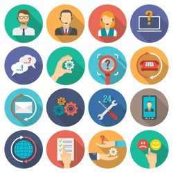 Technical support and customer assistance icons flat set isolated vector illustration