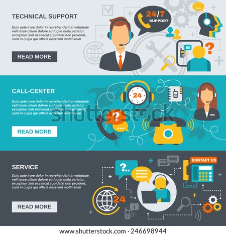 Technical support call center and service flat banner set isolated vector illustration