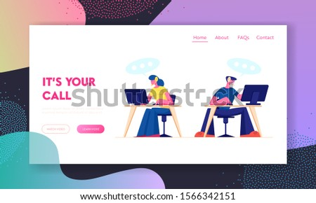 Technical Support, Call Center Website Landing Page. Customer Service Staff in Headset Working on Computers. Specialists Solve Clients Problems Online Web Page Banner. Cartoon Flat Vector Illustration