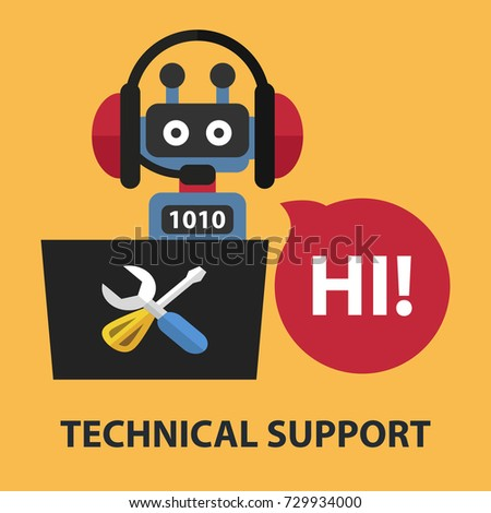 Technical support flat concept. Vector illustration. Element template for design.