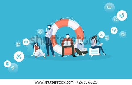 Technical support. Flat design business people concept. Vector illustration for web banner, business presentation, advertising material.