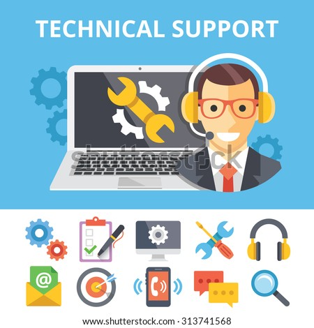 Technical support flat illustration and flat technical support icons set. Modern flat design graphic concepts for web banners, web sites, printed materials, infographics. Creative vector illustrations