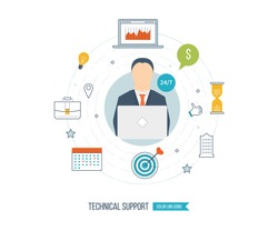 Technical support flat illustration. Operator and customer. Strategy for successful business. Investment growth.  Investment management. Vector illustration