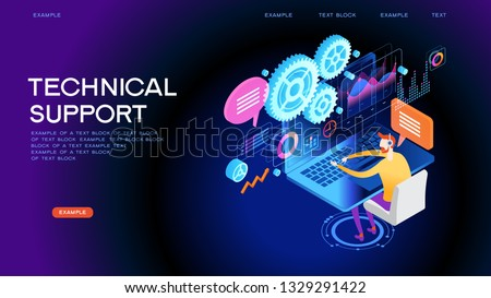 Technical support illustration concept. Modern business technology. Technical support engineer with computer at work. Design concepts for web banners. 3D vector isometric illustration.