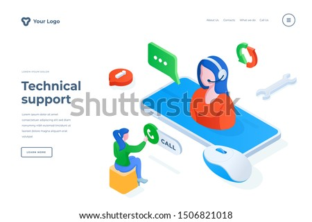 Technical support isometric landing page template. Call center operator consulting client online. Customer helpline consultations mobile app banner. Hotline maintenance webpage design layout