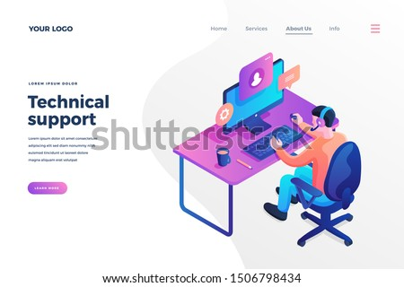 Technical support isometric landing page template. Call center worker having chat with client online. Cartoon customer helpline consultations. Hotline maintenance operator webpage design layout