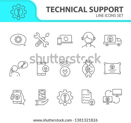 Technical support line icon set. Tools, operator, smartphone. Digital gadgets concept. Can be used for topics like online help, call center, customer service #1381321826