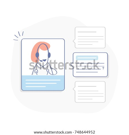 Technical support operator, online help desk, chat, faq, call center. Cute cartoon consultant with happy speech bubble and ticket dashboard. Flat outline illustration concept, isolated vector on white