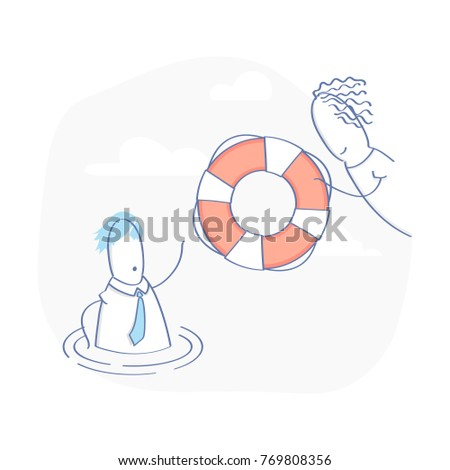 Technical Support operator with lifebuoy tries to help the client, Business Customer care Service, User Support, Phone Assistant, Online Help. Specialist solve problem online. Flat layout style vector