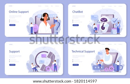 Technical support web banner or landing page set. Idea of customer service. Consultant support clients and help them with problems. Providing customer with valuable information. Vector illustration