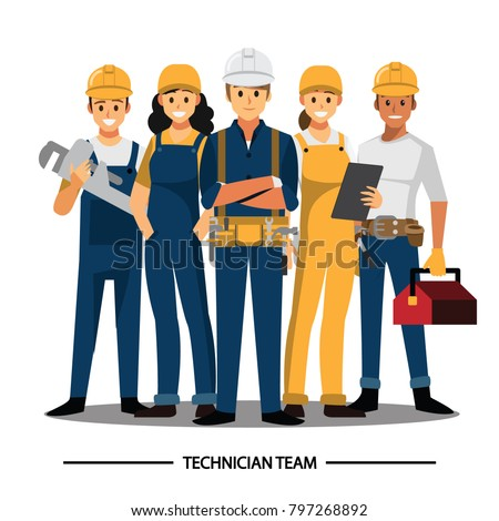 Technician and builders and engineers and mechanics and Construction Worker People teamwork ,Vector illustration cartoon character.