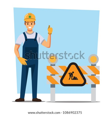 Technician and builders and engineers and mechanics Under construction ,Vector illustration cartoon character.