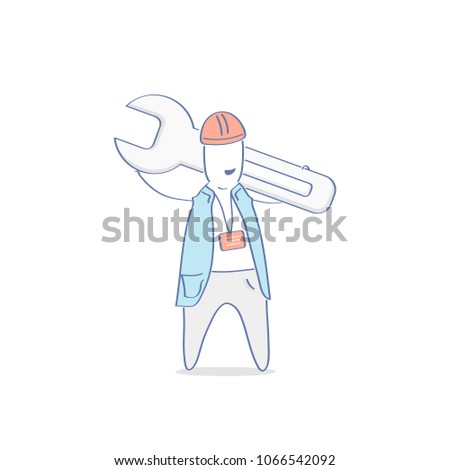 Technician, builder or engineer, mechanic, construction worker, handyman with wrench, spanner. Industrial, development icon concept. Flat outline vector illustration cartoon character.
