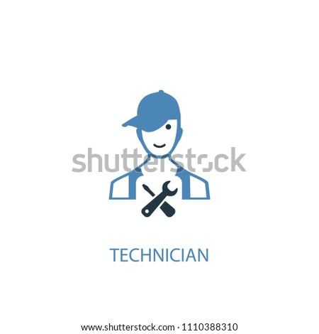 technician concept 2 colored icon. Simple blue element illustration. technician concept symbol design from Car service set. Can be used for web and mobile UI/UX