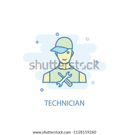 technician trendy icon. Simple line, colored illustration. technician symbol flat design from Car Service set. Can be used for UI/UX