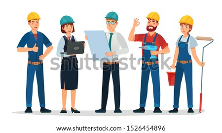 Technician workers and engineers team. Technicians people group, engineering worker and construction. Industrial engineers workers, builders characters isolated cartoon vector illustration