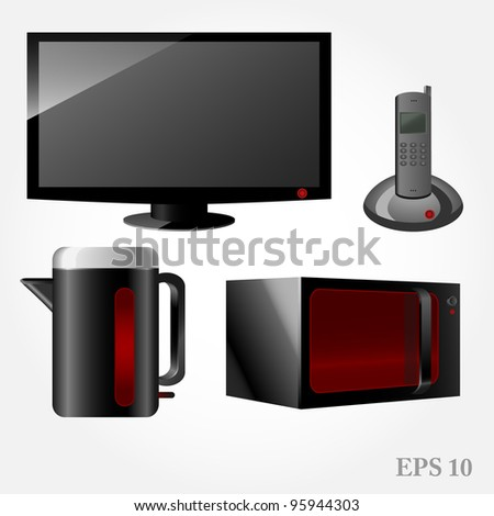 technique vector icons and household electronic set