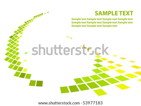 Techno abstract pattern of green squares. Vector