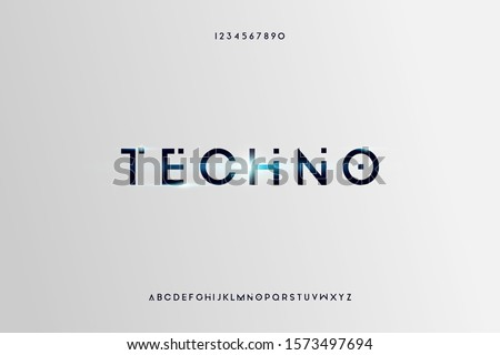 techno. Abstract technology futuristic alphabet font. digital space typography vector illustration design