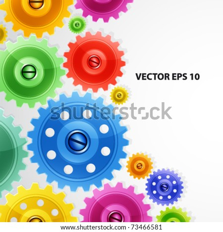 Techno background with colorful gears. Industrial image.