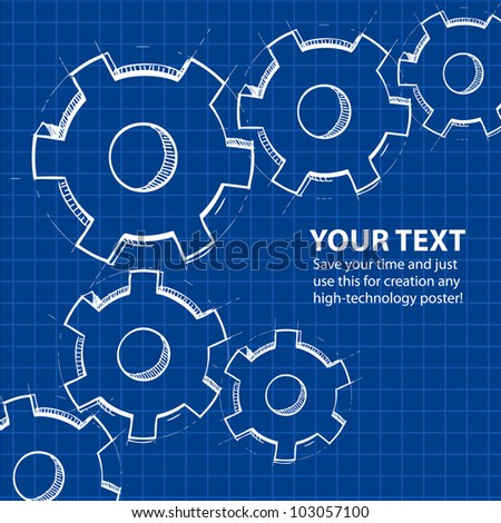 Techno blue background with hand drawing gears and sample text. Vector illustration