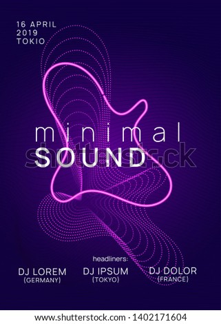 Techno event. Abstract show cover template. Dynamic gradient shape and line. Neon techno event flyer. Electro dance music. Electronic sound. Trance fest poster. Club dj party.