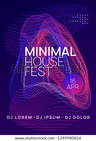 Techno event. Abstract show magazine layout. Dynamic gradient shape and line. Neon techno event flyer. Electro dance music. Electronic sound. Trance fest poster. Club dj party.