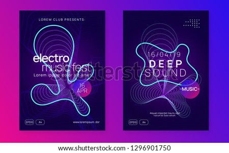 Techno event. Bright concert cover set. Dynamic gradient shape and line. Neon techno event flyer. Electro dance music. Electronic sound. Trance fest poster. Club dj party.