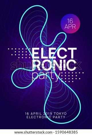 Techno event. Bright show banner design. Dynamic gradient shape and line. Neon techno event flyer. Electro dance music. Electronic sound. Trance fest poster. Club dj party.
